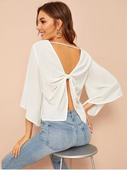 Sexy Plain Top Regular Fit Scoop Neck Three Quarter Length Sleeve Flounce Sleeve Pullovers White Regular Length Knotted Open Back Bell Sleeve Top