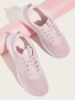 Comfort Round Toe Pink Lace-up Front Open Knit Trainers