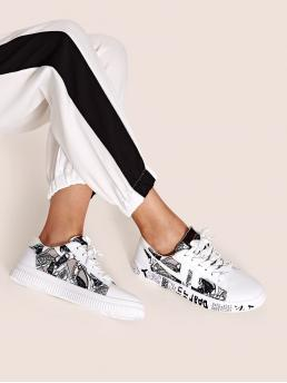 Comfort Round Toe Letter White Letter Graphic Lace Up Sneakers