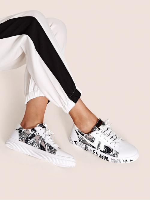 Comfort Round Toe Letter Lace Up White Letter Graphic Lace Up Sneakers