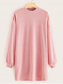 Casual Tee Plain Straight Loose Round Neck Long Sleeve Bishop Sleeve Natural Pink and Pastel Short Length Drop Shoulder Rib-knit Solid T-shirt Dress