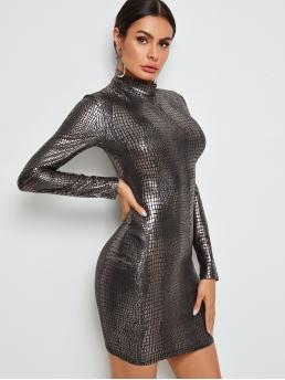 Glamorous Bodycon Crocodile Pencil Slim Fit Stand Collar Long Sleeve Regular Sleeve Natural Multicolor Short Length Mock Neck Crocodile Embossed Metallic Bodycon Dress