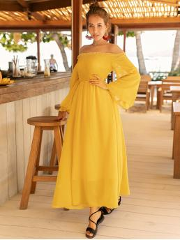 Yellow Plain Shirred off the Shoulder Bell Sleeve Dress on Sale