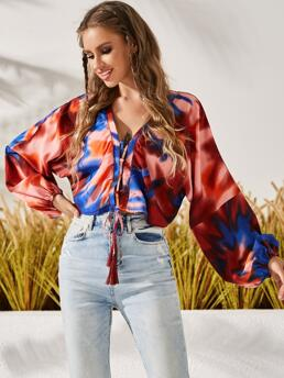 Long Sleeve Top Lace up Polyester Dolman Sleeve Tassel Front Blouse Ladies