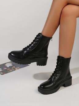 Women's Black Pu Leather Rubber Cotton Lace-up Front Chunky Combat Boots