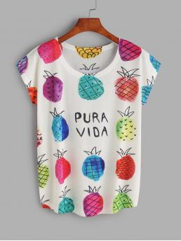Casual Letter and Fruit&Vegetable Round Neck Short Sleeve Multicolor Pineapple Print T-shirt