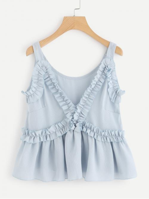 Womens Sleeveless Cami Frill Cotton Embellished Top