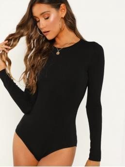 Long Sleeve Cami Contrast Lace Velvet Solid Cheeky Bodysuit Clearance