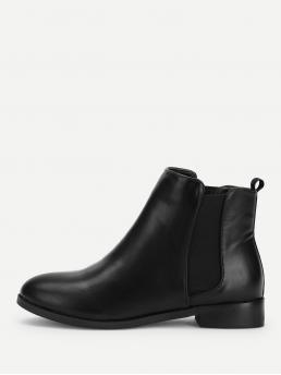 Chelsea Boots Almond Toe Plain Black Chunky PU Chelsea Ankle Boots