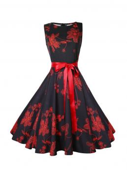 Vintage Fit and Flare Floral Ball Gown Regular Fit Round Neck Sleeveless Natural Multicolor Midi Length Floral Pattern Ribbon Bow Flare Dress with Belt