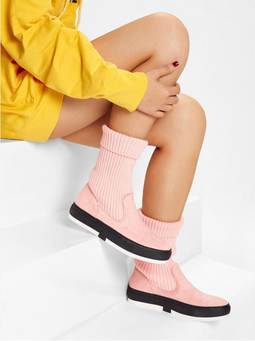 Affordable Polyester Pink Stretch Boots Ripped Knitted Shaft Flat Boots