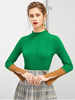 Casual Colorblock Slim Fit Stand Collar Long Sleeve Pullovers Green and Bright Regular Length Split Color Block Mock Neck Tee