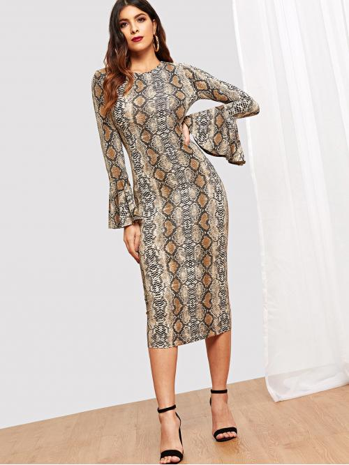 Elegant Animal Fit and Flare Round Neck Long Sleeve Flounce Sleeve Natural Multicolor Midi Length Snake Skin Bell Sleeve Dress