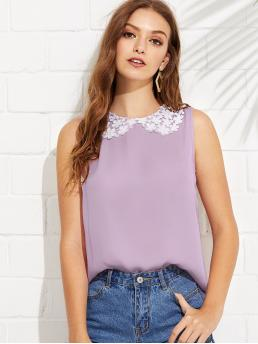 Preppy Top Plain Regular Fit Collar Sleeveless Pullovers Purple and Pastel Regular Length Contrast Daisy Lace Collar Shell Top