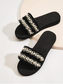 Comfort Slippers Open Toe Black and White Faux Pearl Decor Tweed Flat Sliders