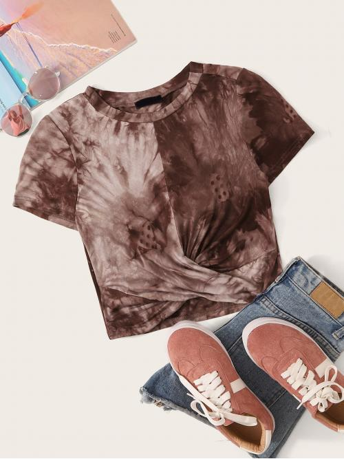 Casual Tie Dye Regular Fit Round Neck Short Sleeve Pullovers Brown Crop Length Twist Front Round Neck Tie Dye Top