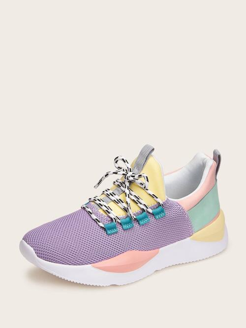 Lilac Purple Running Shoes Round Toe Low-top Color-block Front Knit Sneakers Beautiful