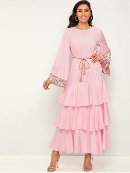 Elegant A Line Layered/Tiered Regular Fit Round Neck Long Sleeve Regular Sleeve Drop Waist Pink and Pastel Maxi Length Tweed Cuff Layered Dress With Belt with Belt