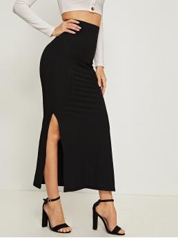 Elegant Pencil Plain High Waist Black Maxi Length Split Side Rib-knit Skirt