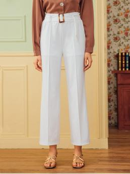 Casual Plain Tailored Regular High Waist White Cropped Length Solid Self Tie Tailored Pants with Belt with Lining