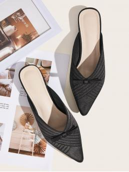 Comfort Plain Black Point Toe Bow Decor Flat Mules