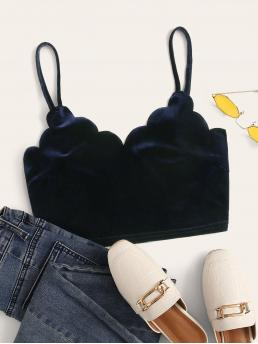 Glamorous and Sexy Cami Plain Slim Fit Spaghetti Strap Navy Crop Length Scallop Edge Velvet Cami Crop Top