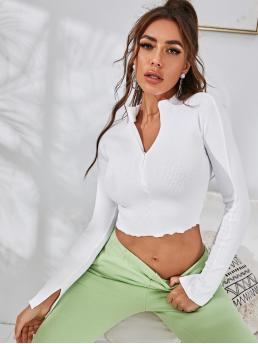 Casual Plain Slim Fit V neck Long Sleeve Regular Sleeve Half Placket White Crop Length Zip Half Lettuce Trim Solid Tee