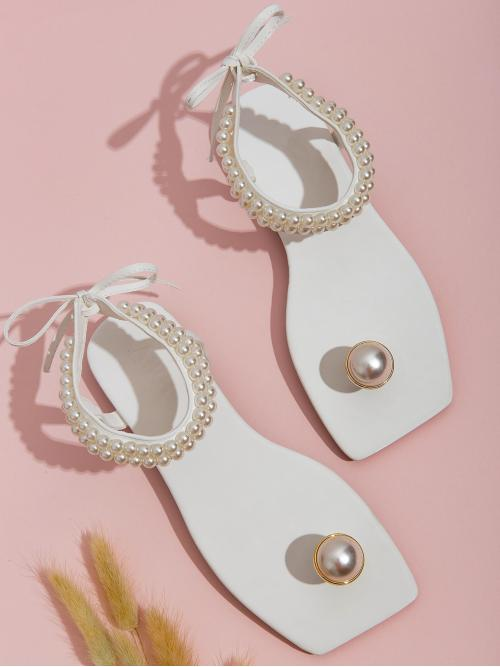 Other Toe Post Ankle Strap White Faux Pearl Decor Ankle Strap Sandals