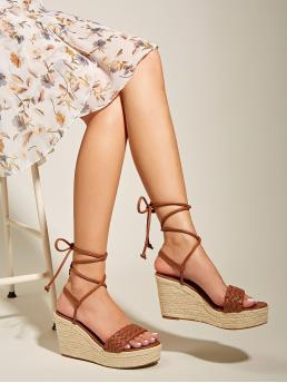 Affordable Polyester Brown a Line Belted Braided Tie Leg Espadrille Wedges
