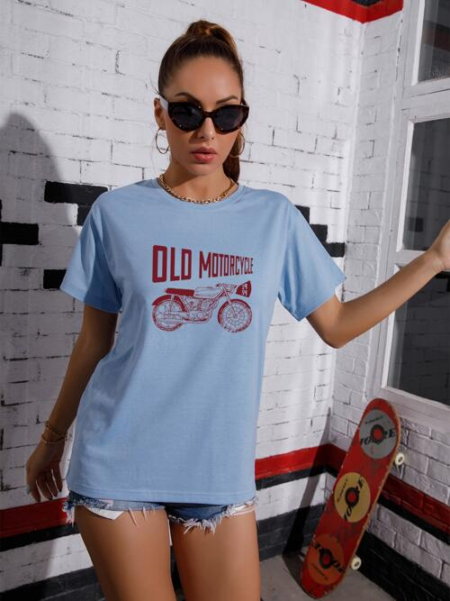 Sale Short Sleeve Cotton Graphic Baby Blue Motorcycle and Tee