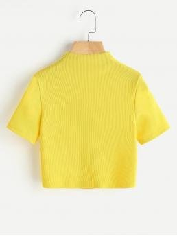 Casual Plain Slim Fit Stand Collar Short Sleeve Yellow and Bright Crop Length High Neck Ribbed Crop Tee