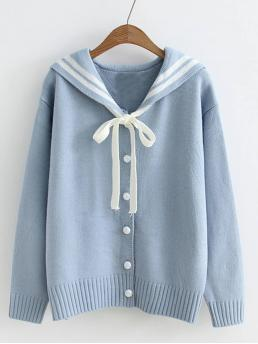 Striped and Letter Button and Knot Collar Long Sleeve Blue Sailor Collar Varsity Sweater Coat