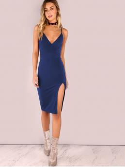Glamorous and Sexy Cami Plain Slit Deep V Neck and Spaghetti Strap Sleeveless Natural Blue Midi Length Slit Front Cami Pencil Dress