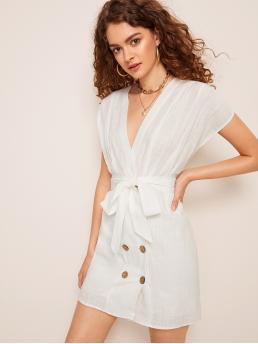 Casual Plain Regular Fit Deep V Neck Cap Sleeve High Waist White Short Length Double Breasted Belted Dress with Belt