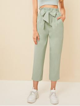 Casual Plain Straight Leg Regular Elastic Waist High Waist Green and Pastel Cropped Length Solid Paperbag Waist Belted Pants with Belt