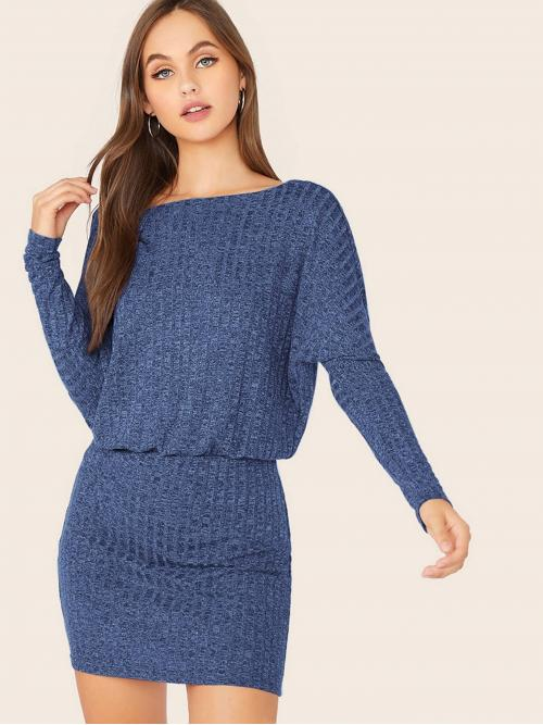 Elegant Fitted Plain Pencil Slim Fit Boat Neck Long Sleeve Batwing Sleeve High Waist Blue Short Length Rib Knit Dolman Sleeve Blouson Dress
