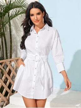 Beautiful White Plain Button Front Collar Solid Button up Shirt Dress with O-ring Belt