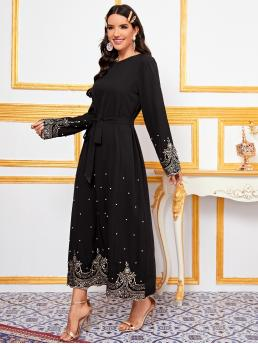 Black Tribal Belted Round Neck Embroidered Pearls Beaded Dress Beautiful