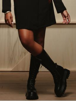 Black Combat Boots Mid Heel Chunky Mid Calf Lace up Boots Discount