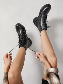Black Combat Boots Mid Heel Chunky Vegan Leather Lace up Combat Booties Sale