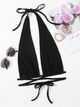 Halter Tie Back Cotton Plain Plunging Neck Tied Top Affordable