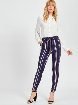 Blue Natural Waist Drawstring Striped Vertical Pants Ladies