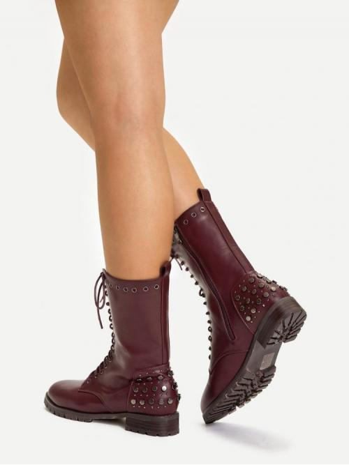Discount Corduroy Burgundy Combat Boots Studded Lace-up Front Rivet Detail Boots