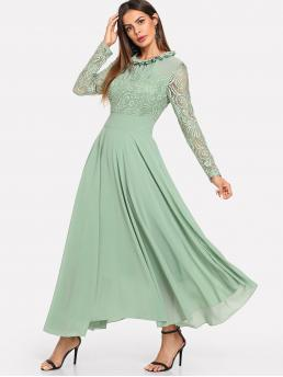 Romantic A Line Plain Loose Stand Collar Long Sleeve High Waist Green Maxi Length Lace Panel Sleeve Pleated Dress with Lining