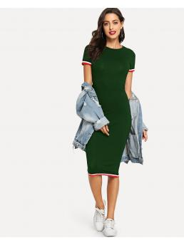 Sporty Bodycon Striped Slim Fit Round Neck Short Sleeve Natural Green Long Length Striped Trim Tee Dress