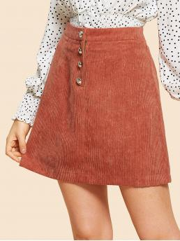 Casual A Line Plain Mid Waist Red Above Knee/Short Length Button Up Solid Cord Skirt