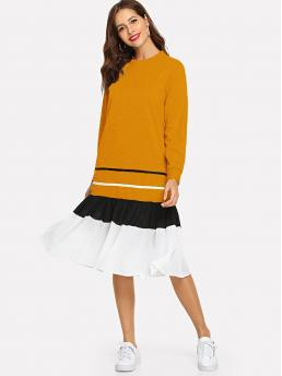 Casual Dress Striped Round Neck Long Sleeve Yellow Contrast Striped Ruffle Hem Dress