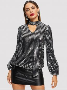 Glamorous Top Regular Fit Stand Collar Long Sleeve Pullovers Grey Regular Length Tie Neck Sequin Top with Lining
