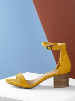 Business Casual Ankle strap Mustard Mid Heel Chunky Open Toe Stacked Heel Ankle Strap Sandal