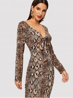 Glamorous and Sexy Pencil Animal Bodycon Deep V Neck Long Sleeve Regular Sleeve Natural Multicolor Midi Length Plunging Neck Snake Skin Print Dress